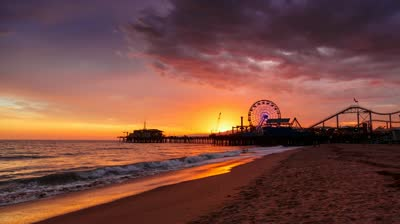 stock-footage-sunset-at-santa-monica-beach-pier-california-hd-timelapse